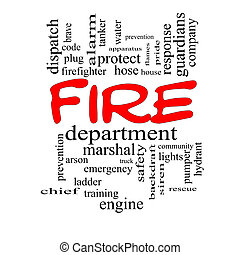 Fire Department Word Cloud Concept in red caps