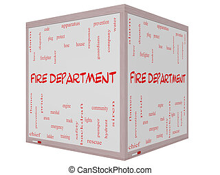 Fire Department Word Cloud Concept on a 3D cube Whiteboard