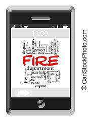Fire Department Word Cloud Concept on Touchscreen Phone