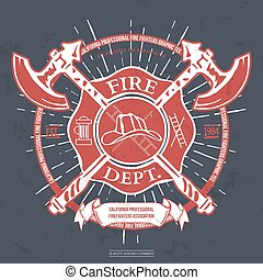 Fire Dept. Label. Helmet with Crossed Axes T-shirt Graphics...