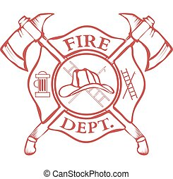 Fire Dept. Label. Helmet with Crossed Axes. Vector