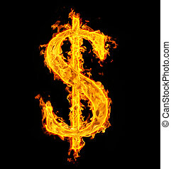 fire sign dollar on black