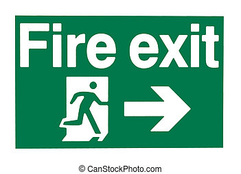 Fire Door - A green and white waring sign showing a fire...