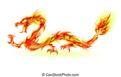 Fire Dragon - Dragon. Abstract fiery Illustration on white...