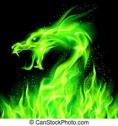 Fire dragon. - Fire head of dragon in green on black ...
