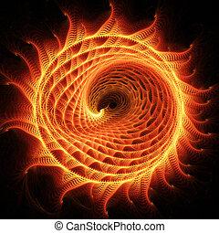 fire dragon wheel - abstract chaos fire dragon rays on dark...