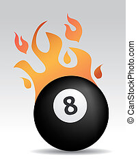 eight ball with fire flames