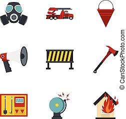 Fire emergency icons set, flat style
