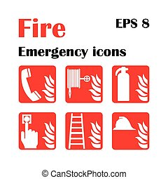 Fire emergency icons. Vector illustration. Fire exit. -...