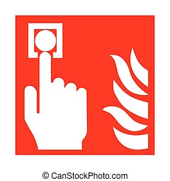 Vector fire emergency icons. Signs of evacuations. Fire alarm.