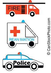 Fire emergency police car vector illustration