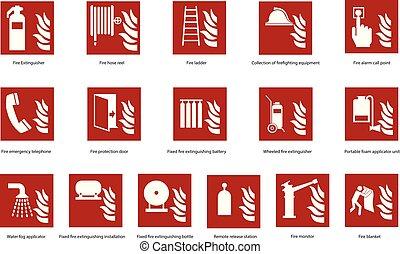 Fire emergency sign set