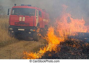 fire-engine, 3, chama