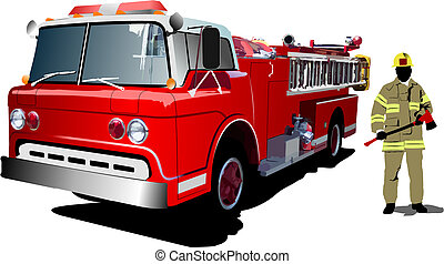 Fire engine and fireman isolated on background. Vector ...