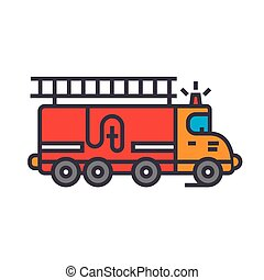Fire engine, car flat line illustration, concept vector isolated icon
