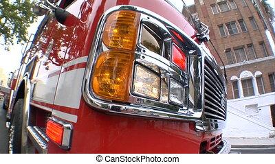 fire engine cu fisheye - This is a close up, fisheye shot of...