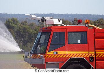 Fire Engine - Fire engine spraying water