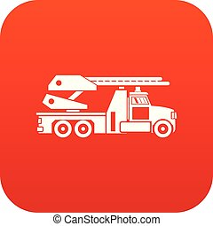 Fire engine icon digital red