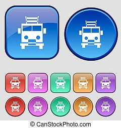 Fire engine icon sign. A set of twelve vintage buttons for your design. Vector