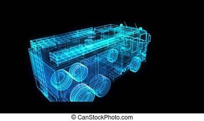 Fire Engine, Looping 3d animation. Polygon mesh of model firetruck. Digital hologram model.