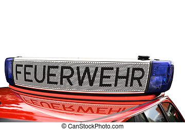 Fire engine - Loudspeaker and warning lights on a german...