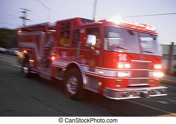 Fire engine on street (blur)