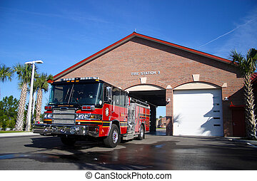 Fire Engine Parked In front of Station Number 3 - Red and...