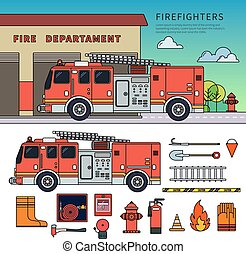 Fire-engine standing on the street