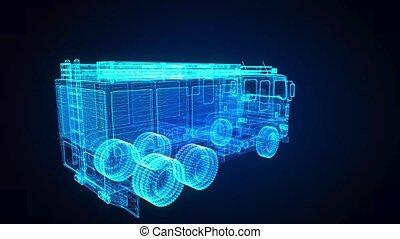 Fire Engine wire-frame model. Looping 3d animation. Firetruck digital hologram model.