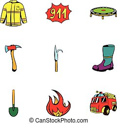 Fire equipment icons set, cartoon style