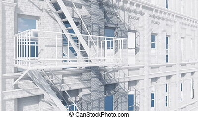 Fire escape on abstract white building 4K