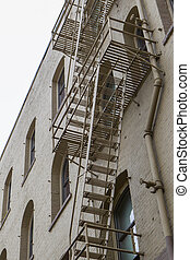 Fire escape on side of building.