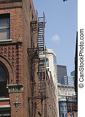 Fire Escape on Side of Old Brick Building