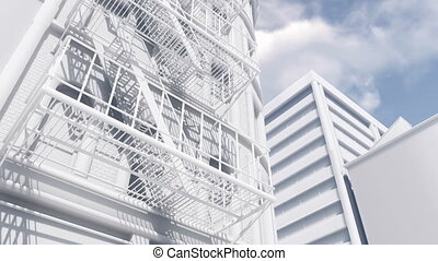 Fire escape on white scale model building 4K