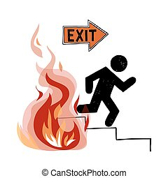 Fire evacuation vector sign. Pictogram of man and realistic...