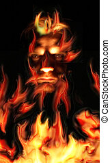 fire  evil - red evil in the real fire background