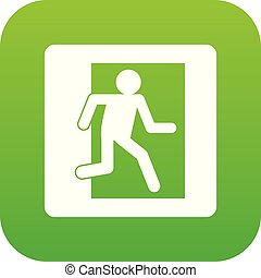 Fire exit sign icon digital green