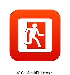 Fire exit sign icon digital red