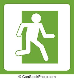 Fire exit sign icon green
