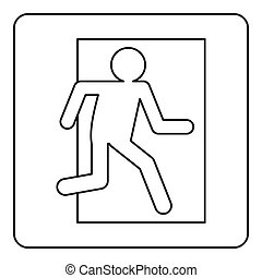 Fire exit sign icon outline