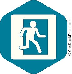 Fire exit sign icon simple