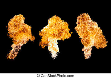 Fire explosion, isolated on black background