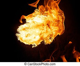 Fire explosion isolated on black background
