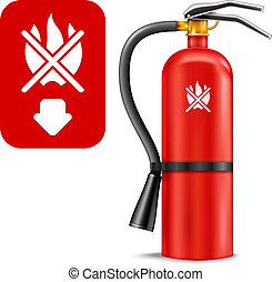 Fire Extinguisher and Sign isolated on white. Vector Illustration