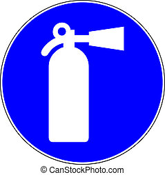 Fire extinguisher blue sign on white background
