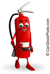 Fire Extinguisher character is walking - Cartoon Character...