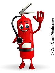 Fire Extinguisher character with hello pose - Cartoon ...