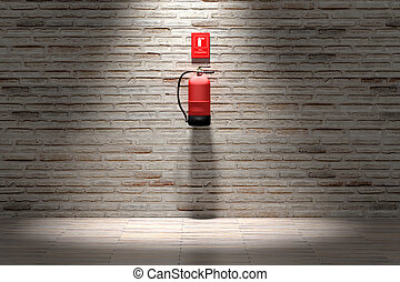 Fire extinguisher hanging on brick wall