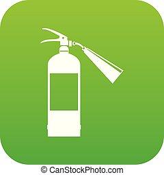 Fire extinguisher icon digital green