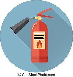 Fire extinguisher icon in flat style